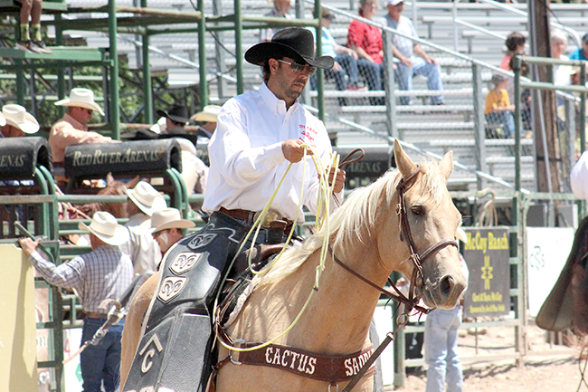 Pickup man Josh Edwards has been a fixture at Dodge City Roundup Rodeo. He returns to work all six nights of this year's event, from the A Whole Lotta Bull on Tuesday, Aug. 2, to the five nights of world-class rodeo action that follow.