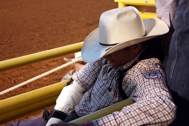 Two-time Wrangler National Finals Rodeo qualifier Brian Bain gets ready to ride his Pete Carr Pro Rodeo horse during bareback riding at a recent Lea County Fair and Rodeo. Having Carr as the stock contractor has been an attractive feature for Lovington's rodeo.