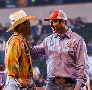 Cody Webster, left, and Evan Allard discuss a Bullfighters Only competition recently. Not only will the two men be part of Sidney's contest, they will work in protection during the rodeo. (TODD BREWER PHOTO)