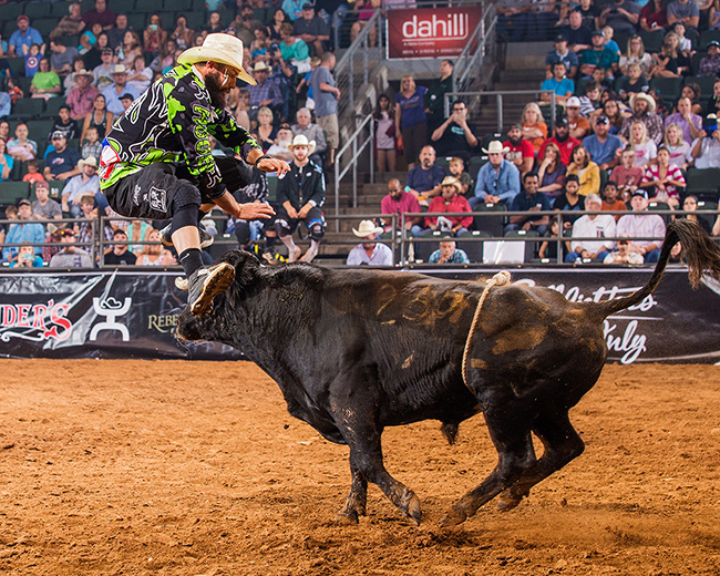 Weston Rutkowski jumps a bull during a recent Bullfighters Only event. Rutkowski will be one of six men that will be part of California Rodeo Salinas' BFO event that takes place Thursday-Sunday. (TODD BREWER PHOTO)