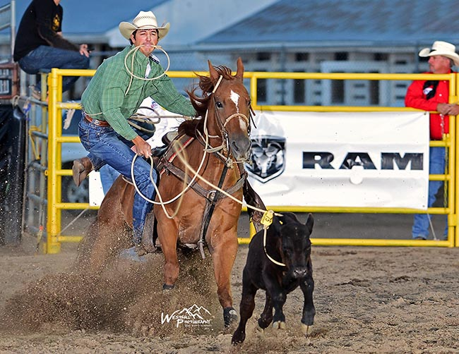 Rookie tie-down roper Ike Fontenot makes his 8.3-second run on Sunday night to take the lead at the Rooftop Rodeo (GREG WESTFALL PHOTO)