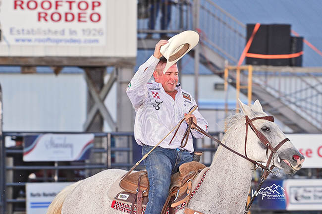 Steer wrestler K.C. Jones of Decatur, Texas, took the early lead in steer wrestling on the opening night of the 90th edition of Rooftop Rodeo. (GREG WESTFALL PHOTO)