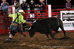 Ross Johnson battles his bull for 86 points on Friday night to win the Bullfighters Only stop in Burlington, Colo. (BRIAN GAUCK PHOTO)