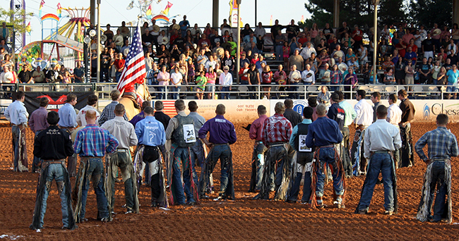 Bull riders line up during the introductions at a recent Lea County Xtreme Bulls.