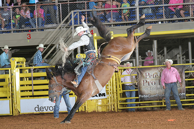 CoBurn Bradshaw rides Pete Carr's Cowboy Cowtown for 84 points Thursday night to take the lead at the saddle bronc riding lead at the Lea County Fair and Rodeo. (PEGGY GANDER PHOTO)