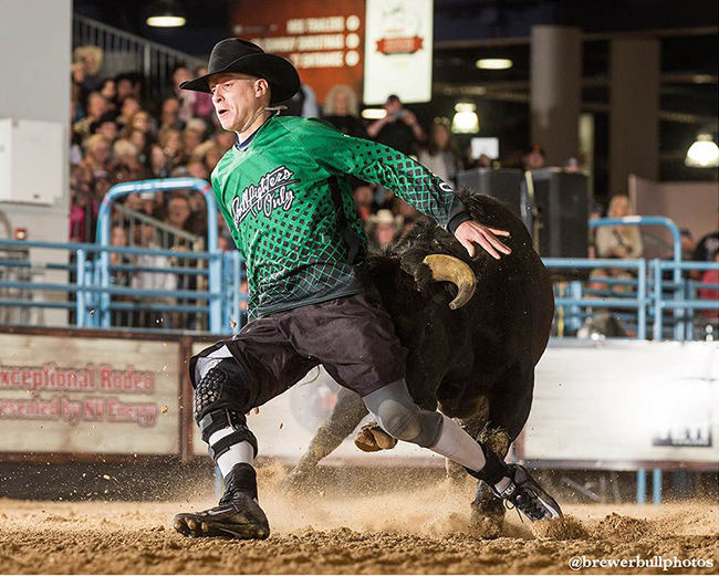 Daryl Thiessen competes during an event earlier this year. Thiessen will be one of 12 men competing at the Dec. 2-3 qualifier that will send four to the Bullfighters Only Las Vegas Championship, which takes place Dec. 7-10. (TODD BREWER PHOTO)