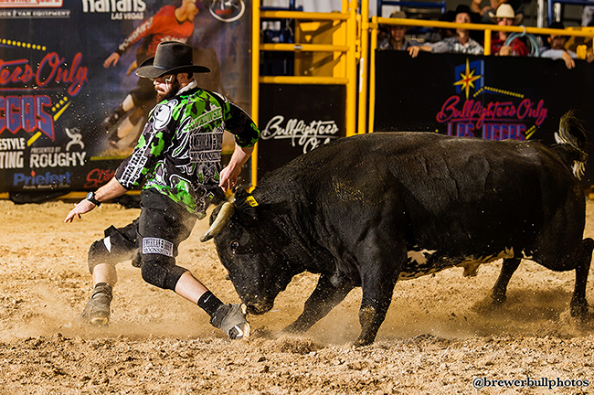 Weston Rutkowski competes during the 2015 Bullfighters Only Roughy Cup at the Las Vegas Convention Center. Rutkowski will be one of the top bullfighters in the BFO that will be part of the seven-day competition that takes place in Las Vegas on Dec. 1-3 and 7-10. The first three days will again be at the Las Vegas Convention Center, and the final four days of the world-class freestyle bullfight will take place at the Hard Rock Hotel & Casino. (TODD BREWER PHOTO)