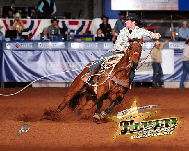Paul David Tierney closes out his 2014 Timed Event Championship of the World title with a solid run in steer roping during the fifth round on Sunday afternoon at the Lazy E Arena. He is a two-time and the reigning champion. (JAMES PHIFER PHOTO)
