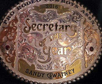 This is the Montana Silversmiths' PRCA Secretary of the Year buckle Sandy Gwatney was given on Nov. 30. The next day, she was given a plaque for being named the WPRA Secretary of the Year.