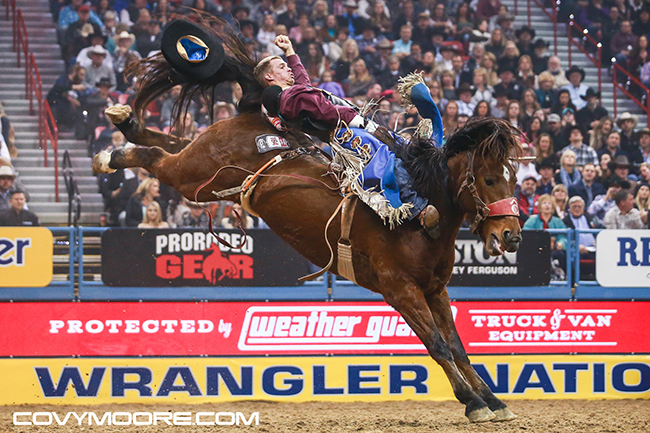 Orin Larsen rides Pete Carr Pro Rodeo's MGM Dirty Jacket for 86.5 points to finish third in the ninth round of the Wrangler National Finals Rodeo on Friday night. He has earned more than $72,000 at the NFR. (COVY MOORE PHOTO)