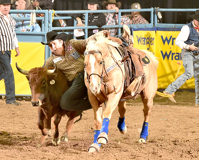 Riley Duvall threw his steer down in 3.6 seconds to win Friday's ninth round. He has placed in just three rounds but has earned nearly $60,000 in Las Vegas. (PRCA PHOTO BY DAN HUBBELL)