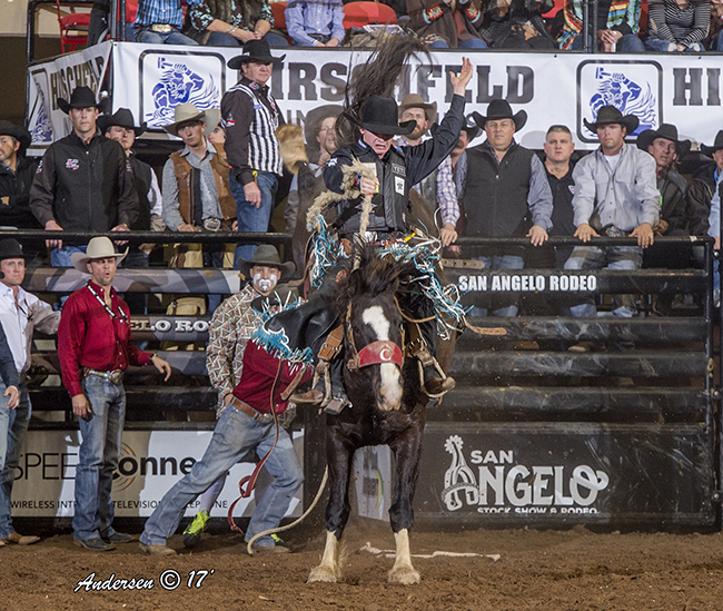 Ryder Wright rides Pete Carr Pro Rodeo's Pendleton Whisky Django for 81 points Saturday night to take the early lead in saddle bronc riding at the San Angelo Stock Show & Rodeo. (RIC ANDERSEN PHOTO)