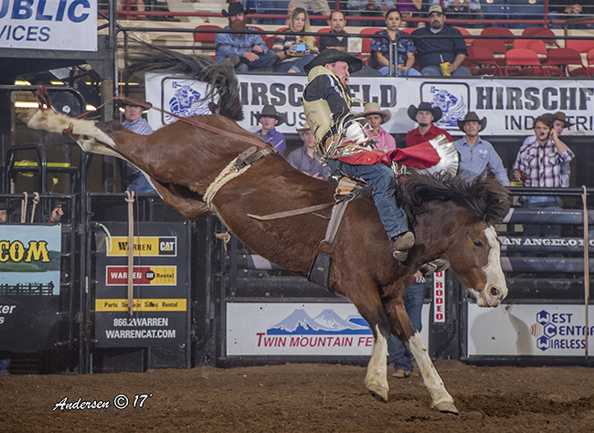 Ty Breuer rides C5 Rodeo's White Water for 86 points to share the bareback riding lead at the San Angelo Stock Show and Rodeo. (RIC ANDERSEN PHOTO)