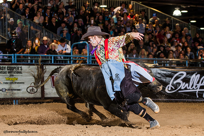 Nathan Harp competes at the Bullfighters Only Roughy Cup this past December. The BFO will have a 15-man stand-alone freestyle bullfight in Lewiston, Idaho, on May 20. (TODD BREWER PHOTO)