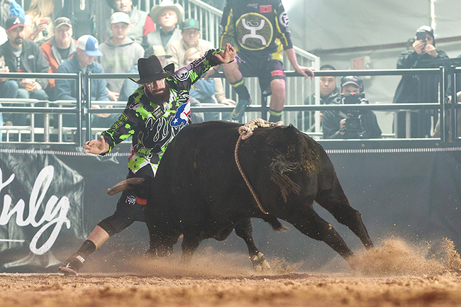 Weston Rutkowski will be one of three Bullfighters Only men competing at the Alpha Bull Events' Chad Besplug Invitational, set for Saturday in Claresholm, Alberta. (TODD BREWER PHOTO)