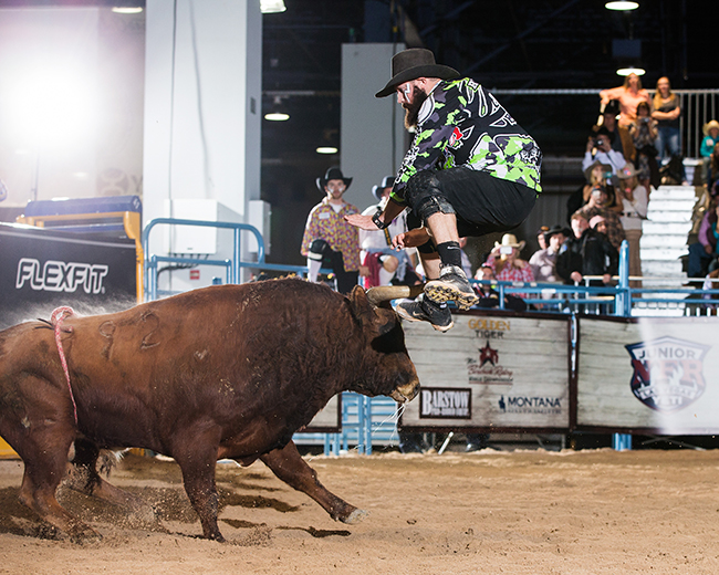 Weston Rutkowski jumps a bull to start his fight during the Bullfighters Only Las Vegas Championship. He returns to his roots in west Texas this weekend to compete in San Angelo. (TODD BREWER PHOTO)