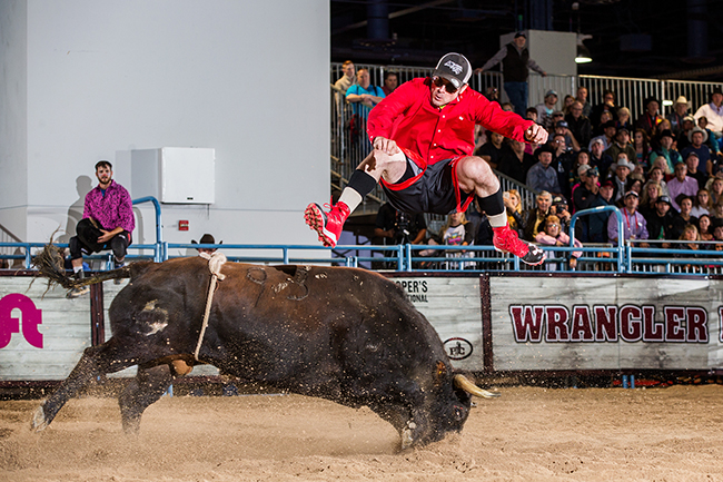 Toby Inman competes this past December during the Bullfighters Only Roughy Cup in Las Vegas. Inman has been one of the best freestyle bullfighters for years and he's excited to be part of the sport's return to Ada, Okla., on April 22. (TODD BREWER PHOTO)