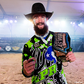 Weston Rutkowski holds the Las Vegas Championship belt he earned this past December. It was a key victory en route to his Bullfighters Only world championship. (TODD BREWER PHOTO)