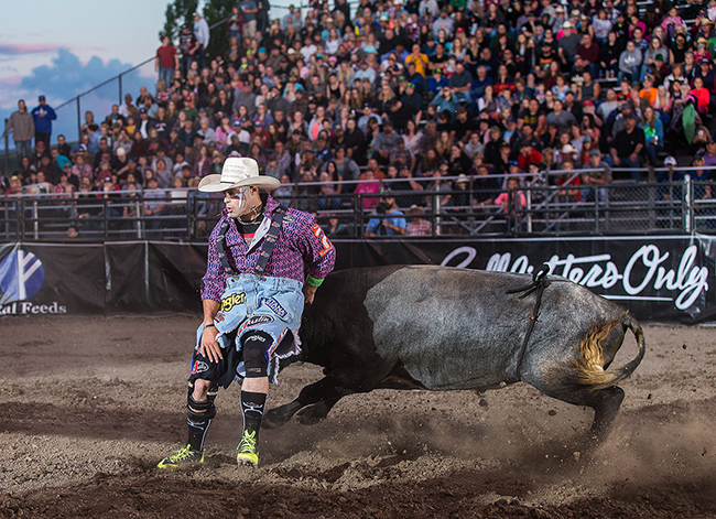 Coming off his victory in Lewiston, Idaho, Dusty Tuckness will compete this Friday at the Bullfighters Only Cavender's Cup presented by Bodyguard Truck Accessories on Friday in Decatur, Texas. (TODD BREWER PHOTO)