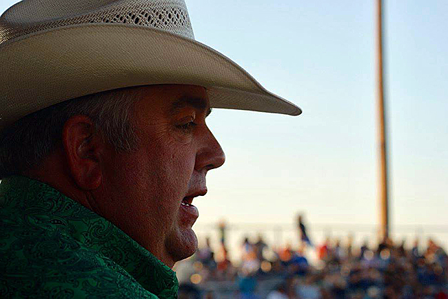 Andy Stewart has been nominated nine times for PRCA Announcer of the Year. It's recognition that he remains one of the top five announcers in ProRodeo. He returns to the Oklahoma Panhandle again this May to call the action with Ken Stonecipher at the Guymon Pioneer Days Rodeo. (PHOTO BY JAYME PEMBERTON)