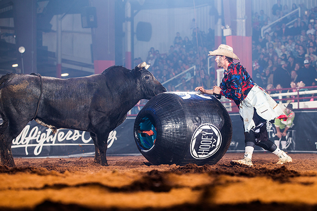 Beau Schueth utilizes the barrel during a freestyle bullfight earlier this year. He will be one of nine men part of the Bullfighters Only event in conjunction with the Dinosaur Roundup Rodeo, set for Thursday-Saturday in Vernal, Utah. (TODD BREWER PHOTO)
