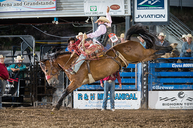 J.W. Meier rides Pete Carr's Big Tex for 83 points to finish the Eagle County Fair and Rodeo in third place in saddle bronc riding. (TODD BREWER PHOTO)