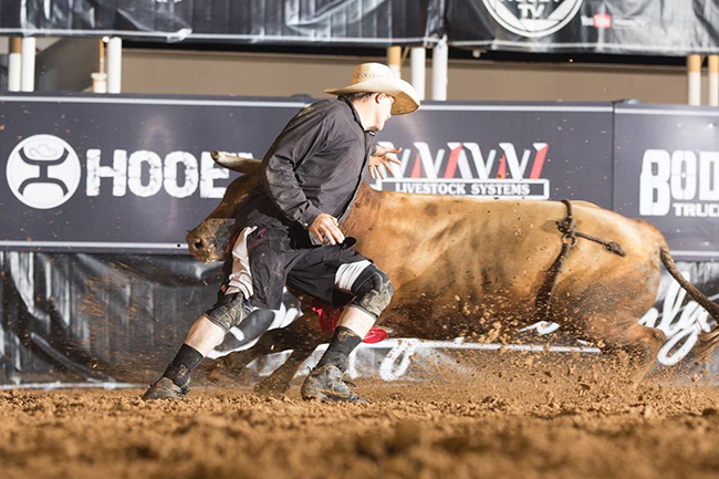 At 6-foot-5, Dayton Spiel is a mountain of a man, but he's also very athletic. He will take his next freestyle bullfighting test this weekend at the Bullfighters Only's event in Vernal, Utah. (TODD BREWER PHOTO)