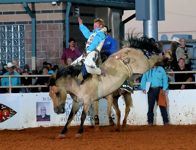 J.R. Vezain, the No. 8-ranked bareback rider in ProRodeo, rides Pete Carr Pro Rodeo's Painted River for 87 points to take the lead at the Lea County Fair and Rodeo. (PEGGY GANDER PHOTO)