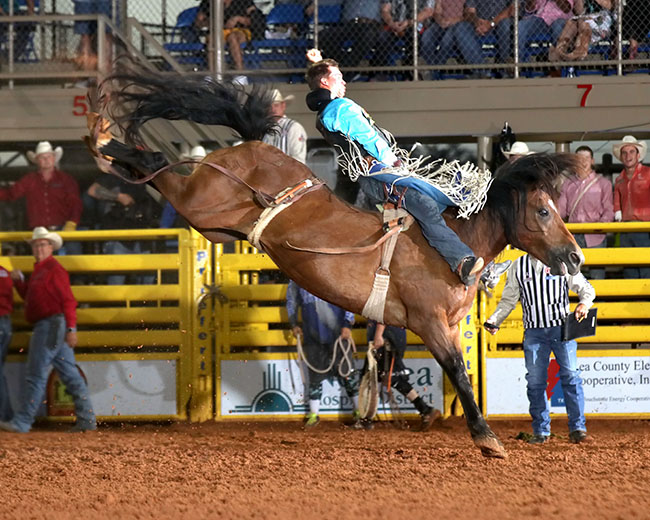 Orin Larsen rides Pete Carr's Scarlet's Web for 90 points earlier this season to win the Lea County Fair and Rodeo. He hopes to continue that hot streak during his third NFR this December. (PEGGY GANDER PHOTO)