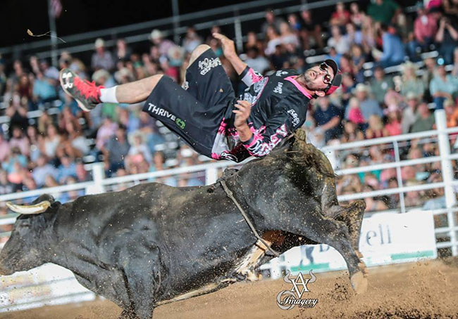 Toby Inman does a back flip over his first-round bull in his victory at BFO-Sikeston. (AVID VISUAL IMAGERY PHOTO)