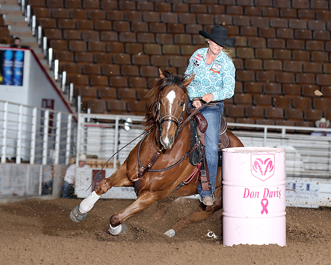 Kelly Kaminski earned back-to-back world championships in 2004-05 and is a big part of the Bellville, Texas, rodeo history. She is always excited for her hometown event, the Austin County Fair and Rodeo. (PEGGY GANDER PHOTO)