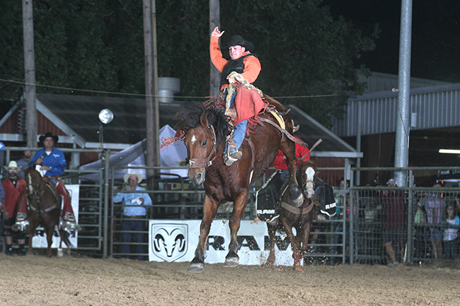 Audy Reed rides Mo Betta Rodeo's Tombstone for 84 points Thursday night to take the saddle bronc riding lead at the Austin County Fair and Rodeo in Bellville, Texas. (PEGGY GANDER PHOTO)