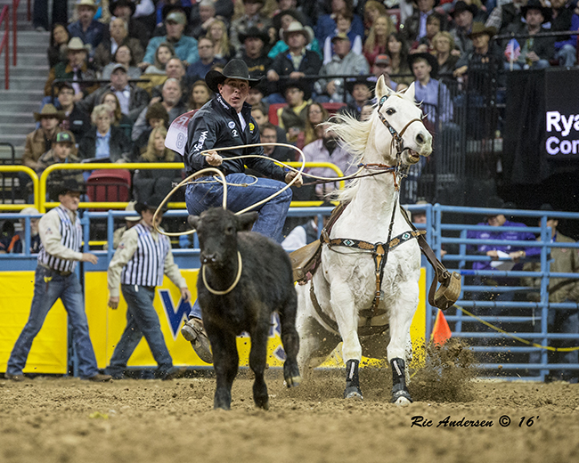 Ryan Jarrett will battle for the tie-down roping title this week at the Chisholm Trail Ram Prairie Circuit Finals Rodeo in Duncan, Okla. (RIC ANDERSEN PHOTO)