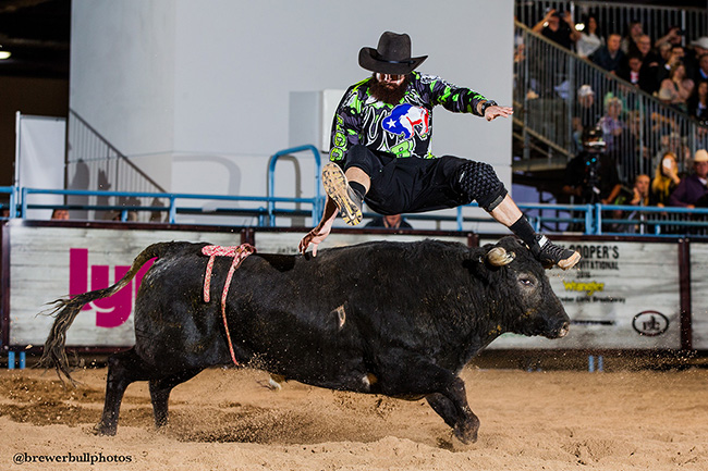 Weston Rutkowski will be jumping for his third straight Roughy Cup title, second straight Las Vegas Championship crown and second straight Bullfighters Only world championship next week in Las Vegas. (TODD BREWER PHOTO)