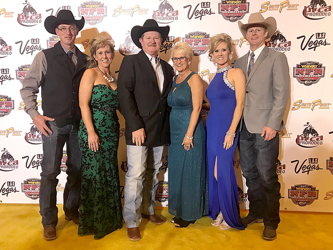 "Dale ""Gizmo"" McCracken, third from leftl, is surrounded by his family on the night of the PRCA Awards Banquet, the night it was announced that McCracken was named the 2017 Comedy Act of the Year. (COURTESY PHOTO)"