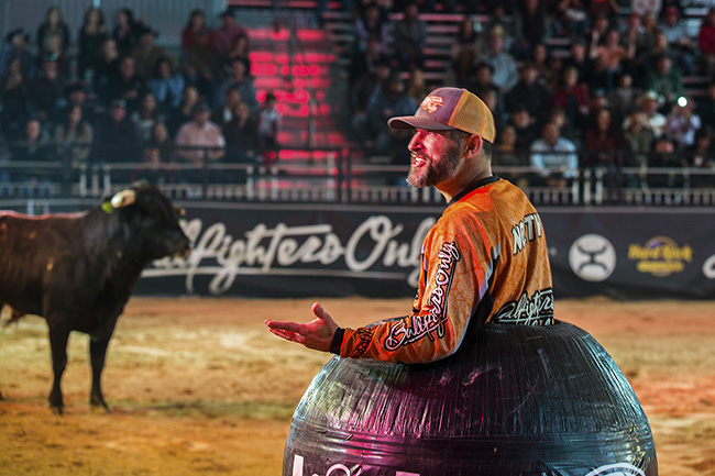 Andy North has been an integral fixture with Bullfighters Only and will return to the barrel at this year's Las Vegas Championship. (TODD BREWER PHOTO)