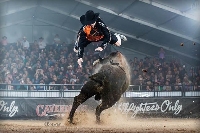Noah Krepps performs the high-flying Superman to start his fight Saturday during the second of three qualifier rounds for the Bullfighters Only Las Vegas Championship. (TODD BREWER PHOTO)