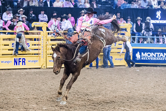 Mason Clements won his first Wrangler National Finals Rodeo go-round Monday night after posting an 88.5-point ride on Korkow Rodeo's Onion Ring. (TODD BREWER PHOTO)