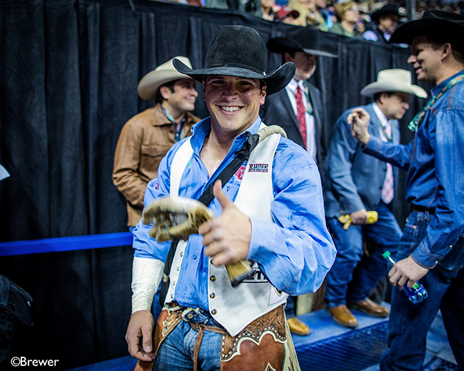 Richmond Champion is thoroughly enjoying his 2017 Wrangler National Finals Rodeo campaign. He has earned nearly $78,000 in six nights. (TODD BREWER PHOTO)
