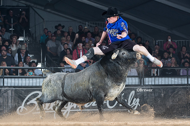 Zach Call jumps his bull en route to a 79-point fight Wednesday during the first Preliminary Round of the Bullfighters Only Las Vegas Championship. (TODD BREWER PHOTO)