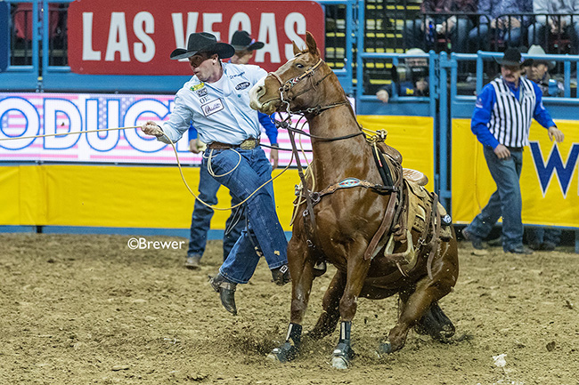 Ryan Jarrett dismounts his talented, young horse, Snoopy, en route to a 7.9-second run to finish sixth during Friday's ninth round of the Wrangler National Finals Rodeo. (TODD BREWER PHOTO)