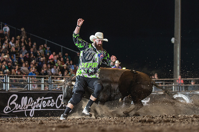 Two-time reigning world champion will be one of the top three men competing at the first Bullfighters Only event of the season, held in conjunction with the Days of '47 Lewis Feild Bulls & Broncs set for Saturday, Feb. 3, at the Maverik Center in Salt Lake City. (TODD BREWER PHOTO)