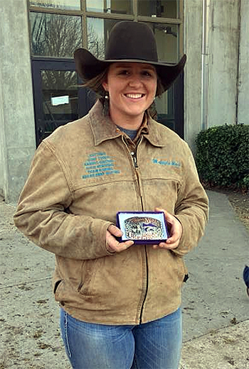 Makayla Mack, a sophomore at Western Oklahoma State College from Christmas, Fla., won the breakaway roping title this past weekend at the Kansas State University rodeo. (PHOTO COURTESY OF THE WESTERN OKLAHOMA STATE COLLEGE RODEO TEAM)