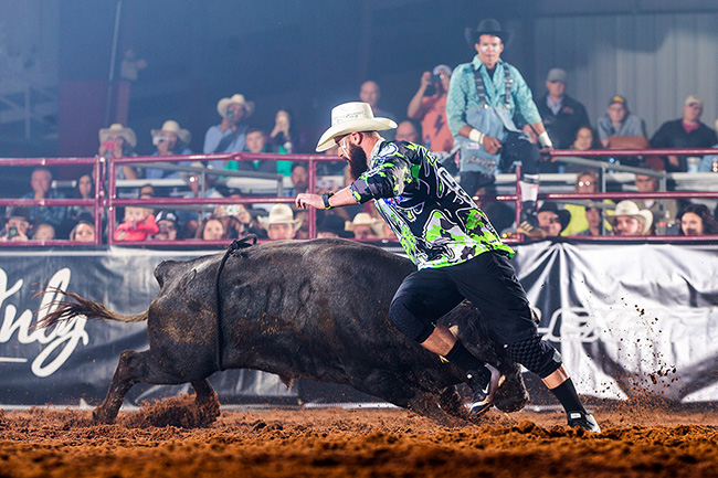 Two-time reigning world champion Weston Rutkowski will be one of six men in the mix at the first Bullfighters Only Wrangler Bullfighting Tour event of the 2018 season at the San Antonio Stock Show and Rodeo. (TODD BREWER PHOTO)