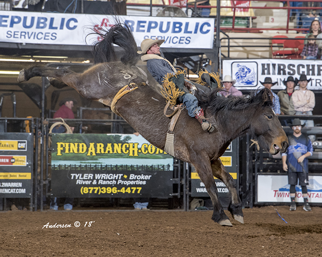 Three-time world champion Will Lowe rides Pete Carr's First Kiss for 85 points Friday night to take the early bareback riding lead at the San Angelo Stock Show and Rodeo. (RIC ANDERSEN PHOTO)
