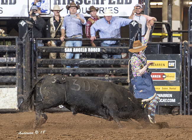 Justin Josey lets Rockin' B & Magnifica's Black Soul run by during the tandem's 87-point bout Saturday night during the Bullfighters Only event at the San Angelo Stock Show and Rodeo. (RIC ANDERSEN PHOTO_