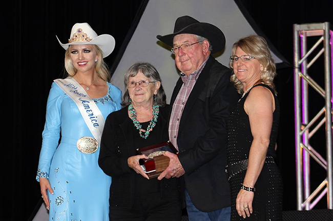 Linda Alsbaugh, second from left, poses with the 2015 PRCA Secretary of the Year Award with then-Miss Rodeo American Lauren Heaton, Brent Gibson and Lori Orman. Alsbaugh will return to her hometown of Gunnison for the Cattlemen's Days in July.