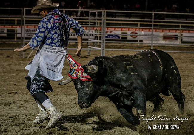 Beau Schueth competes at the Bullfighters Only Wrangler Bullfight Tour stop in Vernal, Utah, this past weekend.  Schueth won Colorado Springs and finished third in Vernal. (PHOTO BY KERRI ANDREWS)
