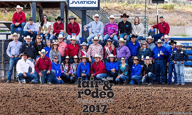 The Lea County Fair and Rodeo staff, advisory council and volunteers pose for a group photo with contract personnel during last year's rodeo. The advisory council works all year to produce one of the greatest expos in Colorado. (PHOTO BY TODD BREWER)