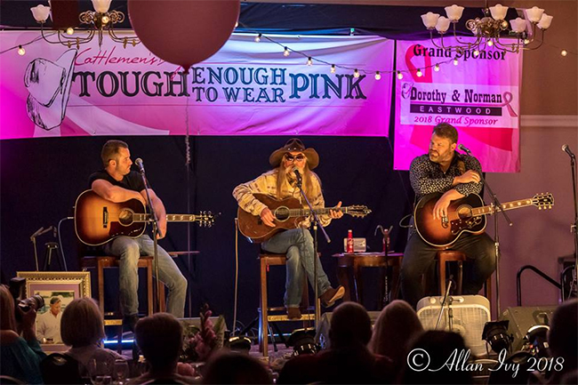 Easton Corbin, Dean Dillon and James Otto perform during the Gunnison Cattlemen's Days Tough Enough to Wear Pink Songwriter Concert and Auction on July 10. The evening produced more than $340,000 in fundraising. (PHOTO BY ALLAN IVY)